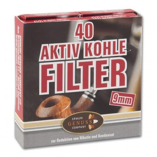 Pfeifenfilter ERMURI 9 mm Aktiv Kohle 40er Schachtel
