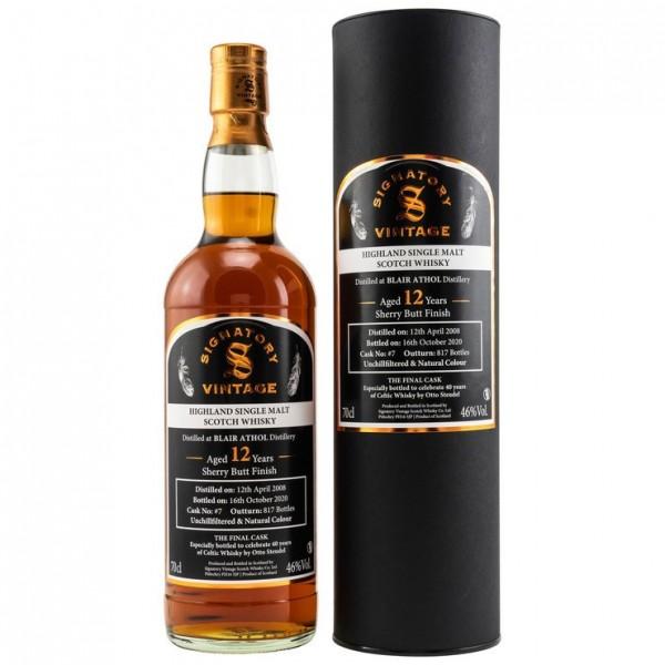Blair Athol 2008/2020 Signatory Vintage Highland Single Malt Scotch The Final Cask
